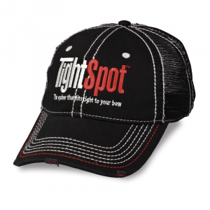 TightSpot Black Distressed Hat w/ Red